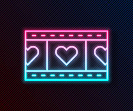 Glowing neon line Play Video with heart icon isolated on black background. Film strip sign. Vector