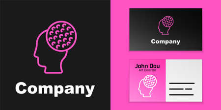 Pink line Golf ball icon isolated on black background. Logo design template element. Vector