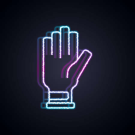 Glowing neon line Golf glove icon isolated on black background. Sport equipment. Sports uniform. Vector