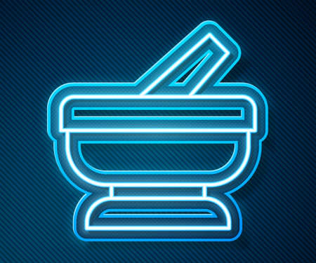 Glowing neon line Mortar and pestle icon isolated on blue background. Vector
