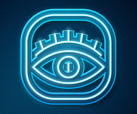 Glowing neon line Masons symbol All-seeing eye of God icon isolated on blue background. The eye of Providence in the triangle. Vector Illusztráció