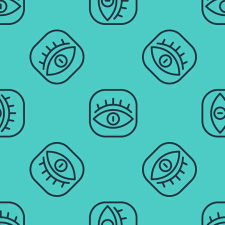 Black line Masons symbol All-seeing eye of God icon isolated seamless pattern on green background. The eye of Providence in the triangle. Vector