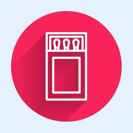 White line Open matchbox and matches icon isolated with long shadow. Red circle button. Vector