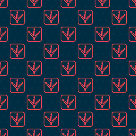 Red line Chicken paw footprint icon isolated seamless pattern on black background. Rooster stamp. Vector