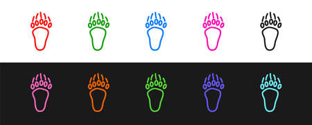 Set line Bear paw footprint icon isolated on black and white background. Vector
