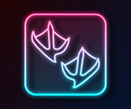 Glowing neon line Seagull paw footprint icon isolated on black background. Vector