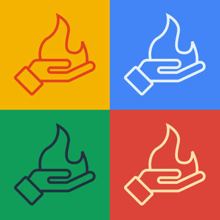 Pop art line Hand holding a fire icon isolated on color background. Vector