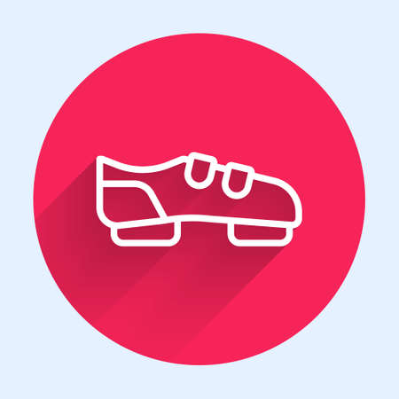 White line Triathlon cycling shoes icon isolated with long shadow. Sport shoes, bicycle shoes. Red circle button. Vector