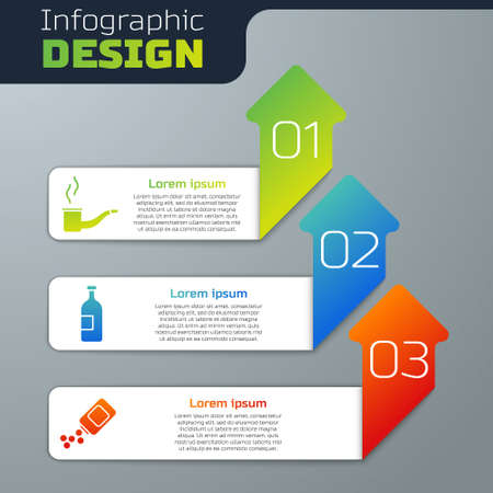 Set Smoking pipe, Alcohol drink bottle and Medicine bottle and pills. Business infographic template. Vector Illusztráció