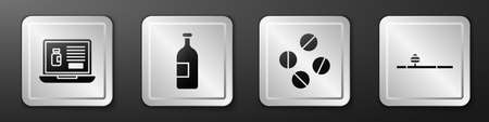 Set Buying drugs online on laptop, Alcohol drink bottle, Medicine pill or tablet and Opium pipe icon. Silver square button. Vector