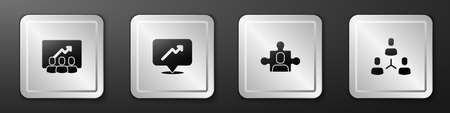 Set Project team base, Graph, schedule, chart, and icon. Silver square button. Vector