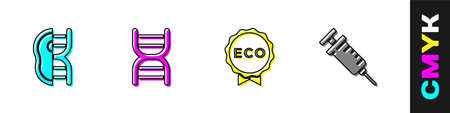 Set Genetically modified meat, DNA symbol, Label for eco healthy food and Syringe icon. Vector