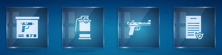 Set Military ammunition box, Hand smoke grenade,   gun and Firearms license certificate. Square glass panels. Vector