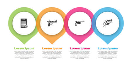Set Firearms license certificate,     gun, Mauser and Small revolver. Business infographic template. Vector