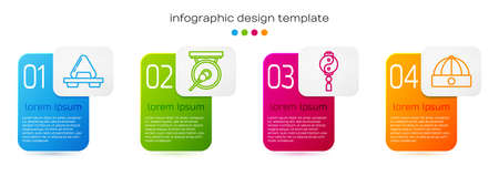Set line Sushi on cutting board, Gong, Yin Yang and Chinese hat. Business infographic template. Vector