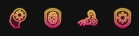 Set line Positive virus, Human and, Shield protecting. Glowing neon icon. Vector