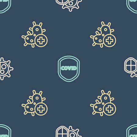 Set line Shield protecting from virus, Positive and on seamless pattern. Vector