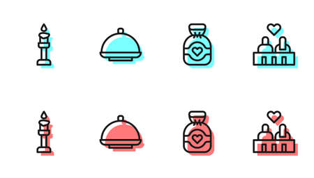Set line Chocolate candy, Burning candle, Covered with tray and Couple love icon. Vector