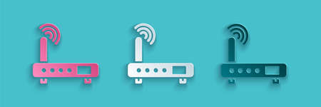 Paper cut Router and wifi signal icon isolated on blue background. Wireless   modem router. Computer technology internet. Paper art style. Vector Illustration Illusztráció