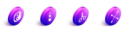 Set Isometric Yin Yang, Bottle of water, Scissors and Cotton swab for ears icon. Vector