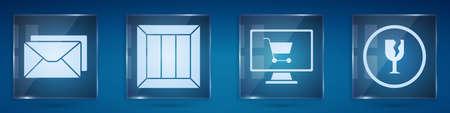 Set Envelope, Wooden box, Shopping cart on computer and Fragile broken glass. Square glass panels. Vector Иллюстрация