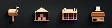 Set Mail box, Warehouse, Calendar and Carton cardboard box icon with long shadow. Vector
