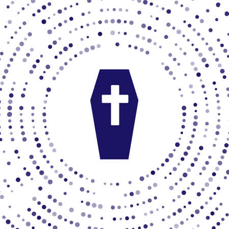 Blue Coffin with christian cross icon isolated on white background. Happy Halloween party. Abstract circle random dots. Vector