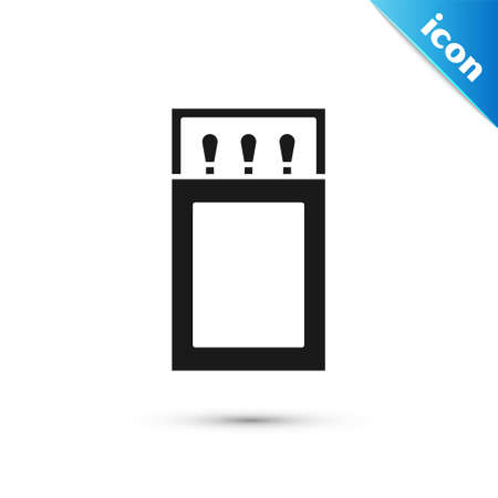 Grey Open matchbox and matches icon isolated on white background. Vector