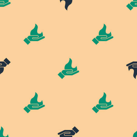 Green and black Hand holding a fire icon isolated seamless pattern on beige background. Vector