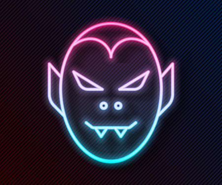 Glowing neon line Vampire icon isolated on black background. Happy Halloween party. Vector