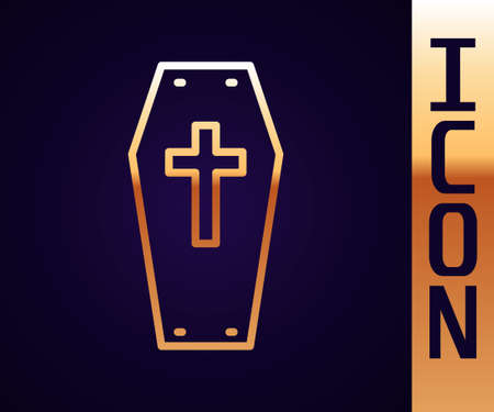 Gold line Coffin with christian cross icon isolated on black background. Happy Halloween party. Vector Иллюстрация
