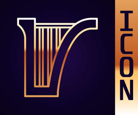 Gold line Harp icon isolated on black background. Classical music instrument, orhestra string acoustic element. Vector