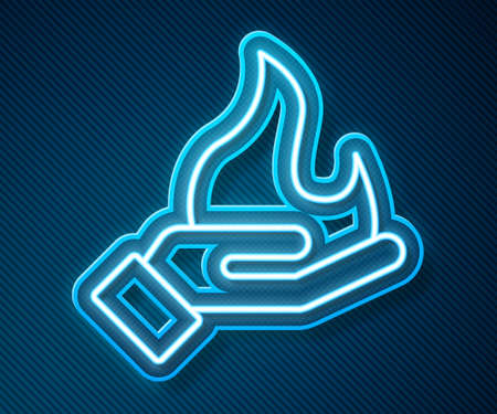 Glowing neon line Hand holding a fire icon isolated on blue background. Vector