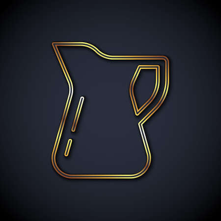 Gold line Bottle of olive oil icon isolated on black background. Jug with olive oil icon. Vector