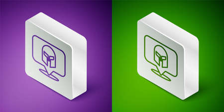 Isometric line Greek helmet icon isolated on purple and green background. Antiques helmet for head protection soldiers with a crest of feathers or horsehair. Silver square button. Vector