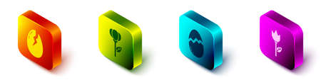 Set Isometric Broken egg, Flower tulip, Broken egg and Flower tulip icon. Vector Иллюстрация