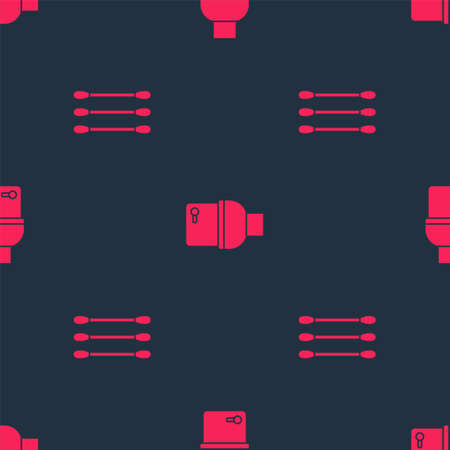 Set Cotton swab for ears and Toilet bowl on seamless pattern. Vector Иллюстрация