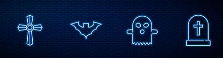 Set line Ghost, Tombstone with cross, Flying bat and . Glowing neon icon on brick wall. Vector
