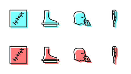 Set line Vomiting man, Scar with suture, Flat foot and Medical thermometer icon. Vector