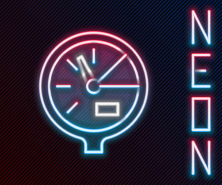 Glowing neon line Water meter icon isolated on black background. Colorful outline concept. Vector Illustration