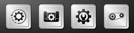 Set Gear and arrows as workflow, Graphing paper and gear, Wrench spanner and gear and Timing belt kit icon. Silver square button. Vector