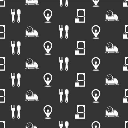 Set Online ordering and delivery, Fast delivery by car, Fork and spoon and Cafe and restaurant location on seamless pattern. Vector