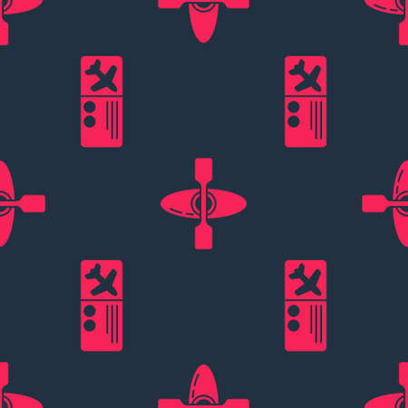 Set Airline ticket and Kayak or canoe on seamless pattern. Vector