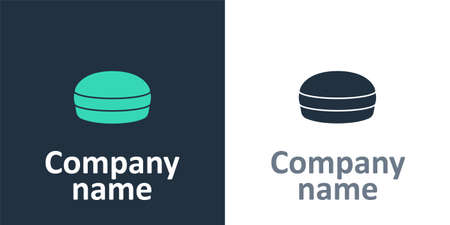 Logotype Macaron cookie icon isolated on white background. Macaroon sweet bakery. Logo design template element. Vector Logo