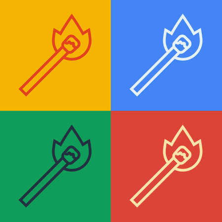Pop art line Burning match with fire icon isolated on color background. Match with fire. Matches sign. Vector