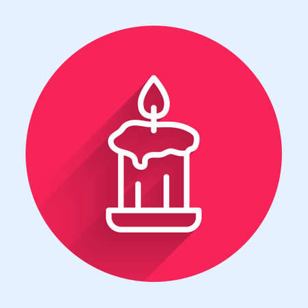 White line Burning candle in candlestick icon isolated with long shadow. Old fashioned lit candle. Cylindrical candle stick with burning flame. Red circle button. Vector