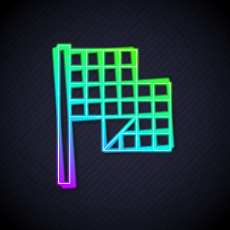 Glowing neon line Checkered flag icon isolated on black background. Racing flag. Vector