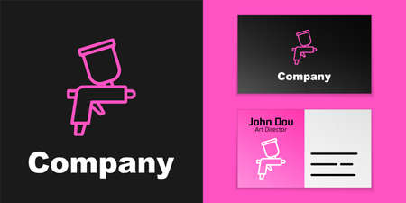 Pink line Paint spray gun icon isolated on black background. Logo design template element. Vector