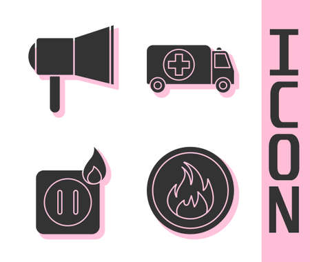 Set Fire flame, Megaphone, Electric wiring of socket in fire and Ambulance and emergency car icon. Vector