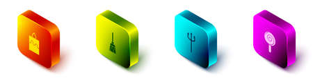 Set Isometric Burning candle, Witches broom, Neptune Trident and Lollipop icon. Vector